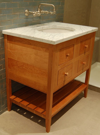 Single Height Apron Open Style Vanity with Two Drawers