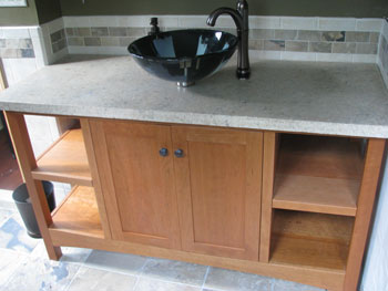 Huntboard Open Style Vanity with Two Doors and Two or Four Drawers