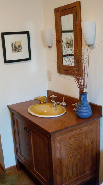 shaker style vanity with two doors