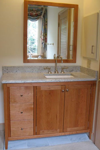 Shaker Style Vanity with two doors and three drawers