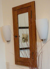 Recessed shaker style medicine cabinet with a mirrored door
