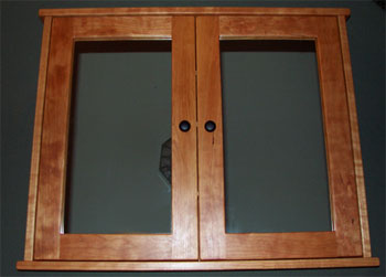 double door cherry medicine cabinet