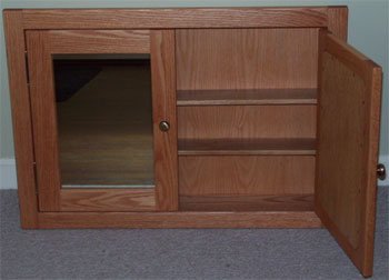 double door oak medicine cabinet