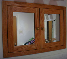 Recessed double door medicine cabinet with mirrored doors