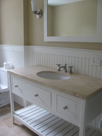Open Style Vanity with Three Drawers (2 functional and 1 false)
