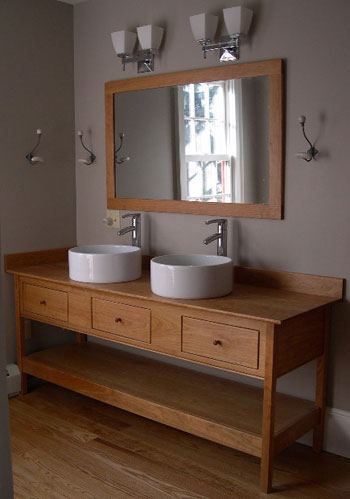 Charming Double Vessel Sinks Open Style Vanity With Three Functional Drawers