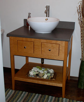 Open Style Bathroom Vanity With Two Drawers