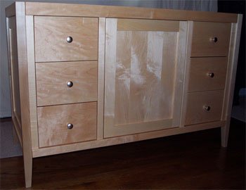 Shaker Style Vanity with one centered door and six drawers